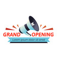 grand opening logo with blue and grey loudspeaker vector image