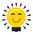 happy conceptual lightbulb icon vector image vector image