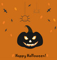 happy halloween card with evil pumpkin and two vector image