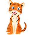 happy tiger cartoon vector image vector image