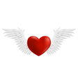 Hovering heart with wings vector image vector image