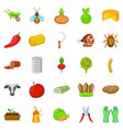 husbandry icons set cartoon style vector image vector image