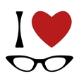 I love glasses print vector image vector image