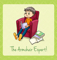 Idiom the armchair expert vector image