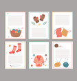 knitting elements cards blank paper notes vector image vector image