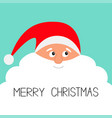merry christmas santa claus face with big white vector image