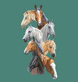 postcard with horses-1 vector image vector image