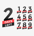 promotional banner with number of days left sign vector image vector image