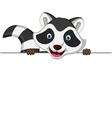 raccoon cartoon posing with blank sign vector image vector image