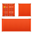 realistic bright red cargo container set vector image vector image
