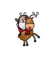 santa riding a reindeer in christmas cartoon vector image