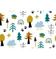 seamless pattern with decorative forest vector image vector image