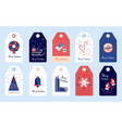 set merry christmas winter stickers and tags for g vector image