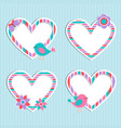 set of cute frames-hearts with birdflower vector image