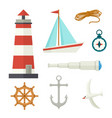 set of flat cartoon style nautical elements vector image vector image