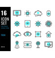 set technology line icons electronics related vector image