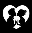 silhouettes of loving coupleman and woman kissing vector image vector image