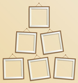Six blank wooden modern frame isolated on beige vector image vector image