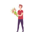 smiling romantic young man with bouquet flowers vector image vector image