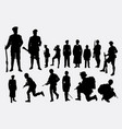 soldier army and police silhouette vector image vector image