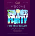 summer disco party typography poster with beach vector image vector image