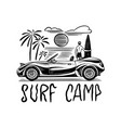 surf camp badge vintage surfer logo retro car vector image vector image