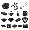 sushi and seasoning black icons in set collection vector image vector image