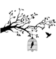 Tree silhouette with bird flying vector | Price: 1 Credit (USD $1)