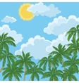 Tropical palms sky with sun and clouds