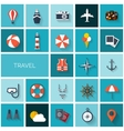 World travel concept background Flat icons set vector image