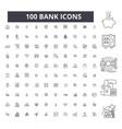 bank editable line icons 100 set vector image
