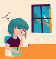 Bored Girl Looking out of Window vector image