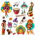 carnival brasil set vector image vector image