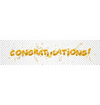 congratulations design with gold ribbon vector image vector image