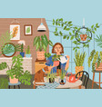 crazy plant lady at greenhouse or home garden vector image vector image