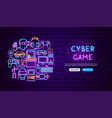 cyber game neon banner design vector image vector image