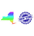 dotted rainbow map of new york state and grunge vector image vector image
