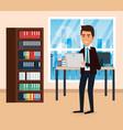 elegant businessman in the office scene vector image