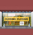 empty supermarket with yellow closing tape vector image vector image