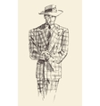 Fashion men in checkered suite with hat vector image vector image