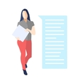 Female standing with a folder bubble speech vector image
