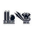 flat icon gasoline engine oil refinery set vector image