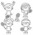 girl tennis players vector image