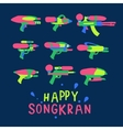Happy Songkran Festival in Thailand water guns vector image