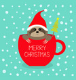 merry christmas fir tree sloth sitting in red vector image