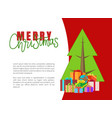 merry christmas greeting cards with presents fir vector image vector image