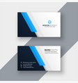 minimal blue business card design template vector image vector image