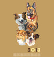 postcard with dogs of different breeds-2 vector image vector image