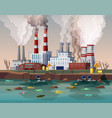power plant air pollution or industry factory vector image vector image