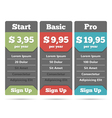 Pricing Table Template vector image vector image